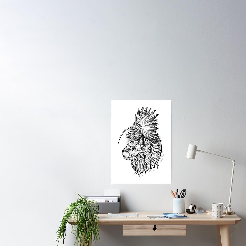 Blackwork - Hawk Cat Poster