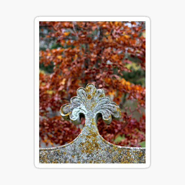 Autumn graveyard leaves and stone Sticker