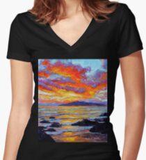 Golden Maui Sunset Women's Fitted V-Neck T-Shirt