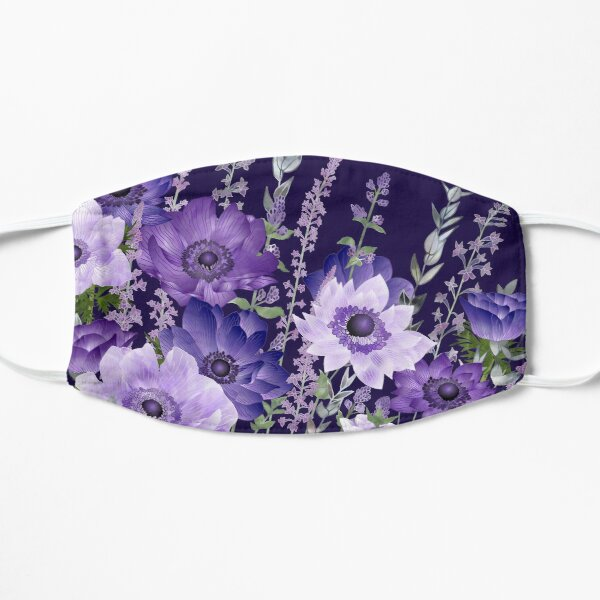 Purple Anemones & Catmint Flowers Flat Mask