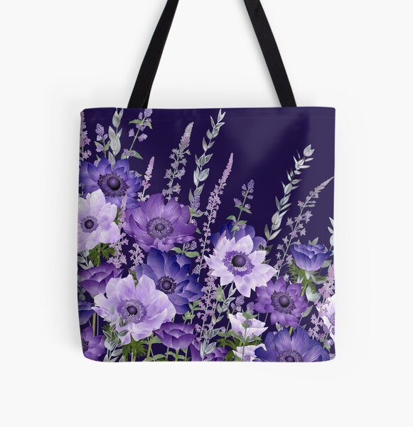 Purple Anemones & Catmint Flowers All Over Print Tote Bag