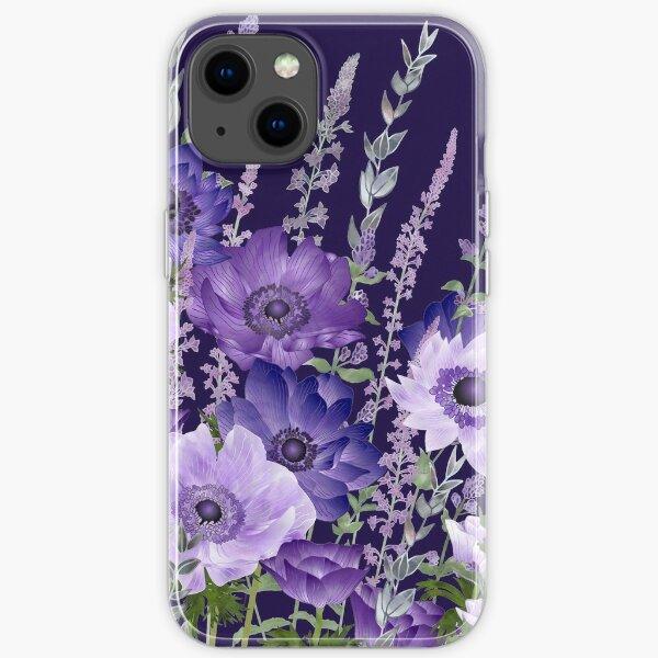 Purple Anemones & Catmint Flowers iPhone Soft Case