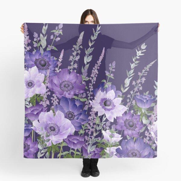 Purple Anemones & Catmint Flowers Scarf