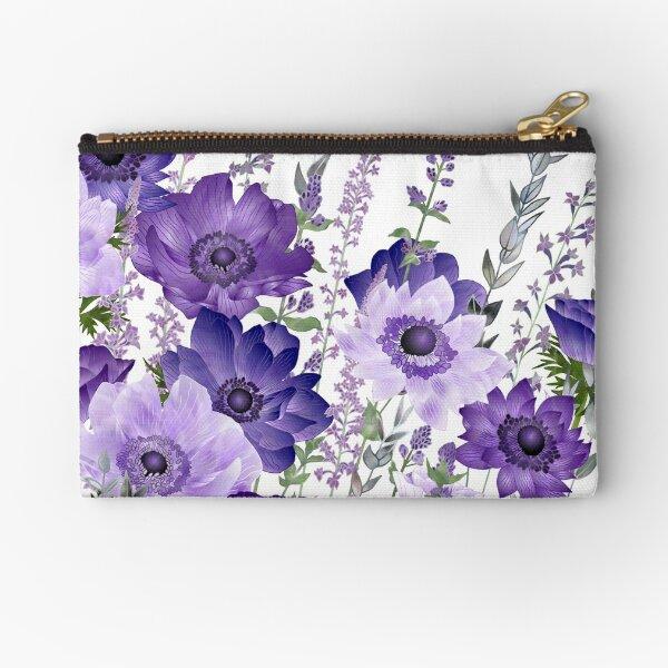 Purple Anemones & Catmint Flowers Zipper Pouch