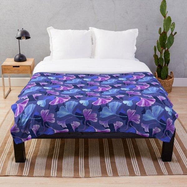 Governor Bay, Midnight Blue, Cornflower Blue, Medium Orchid Violet Ginkgo Leaves Throw Blanket