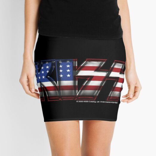 KISS ® rock music band - Metal USA Flag Mini Skirt