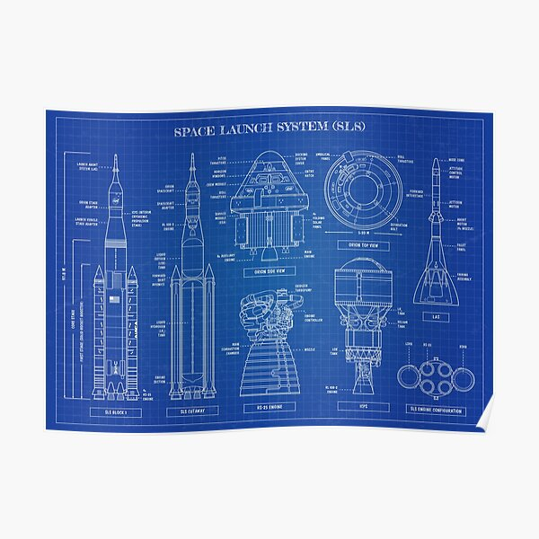 Space Launch System (SLS) Blueprint Poster