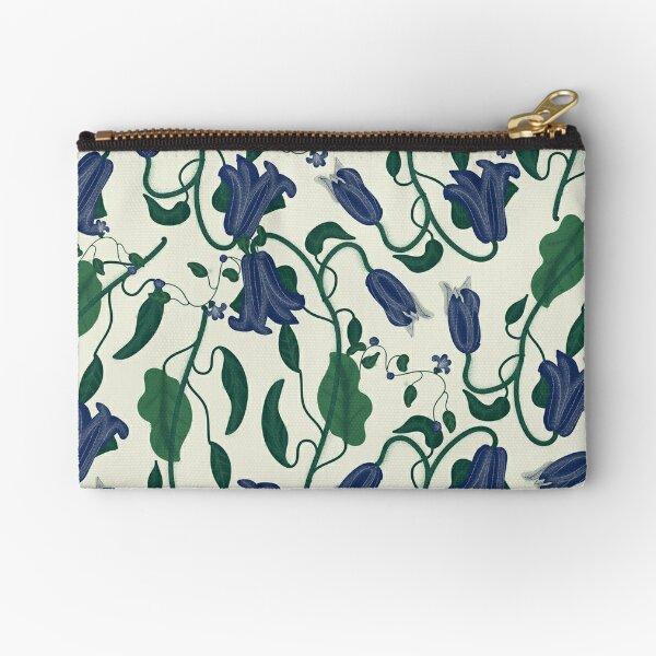 Blue Vintage Flower Pattern Zipper Pouch