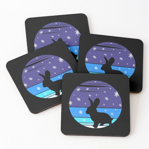 A Cute Rabbit In The Snow At A Vintage Winter Night Coasters (Set of 4)