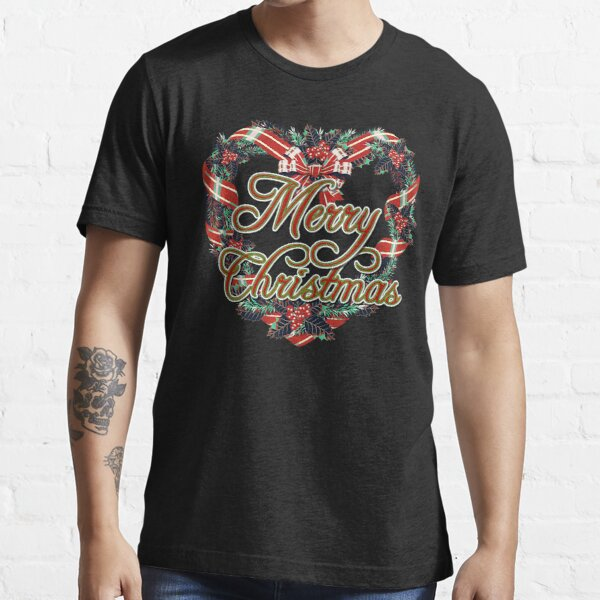 Vintage style Merry Christmas with a Heart Wreath Cute Essential T-Shirt