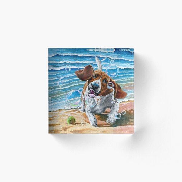 Basset Hounds & Bubbles Acrylic Block
