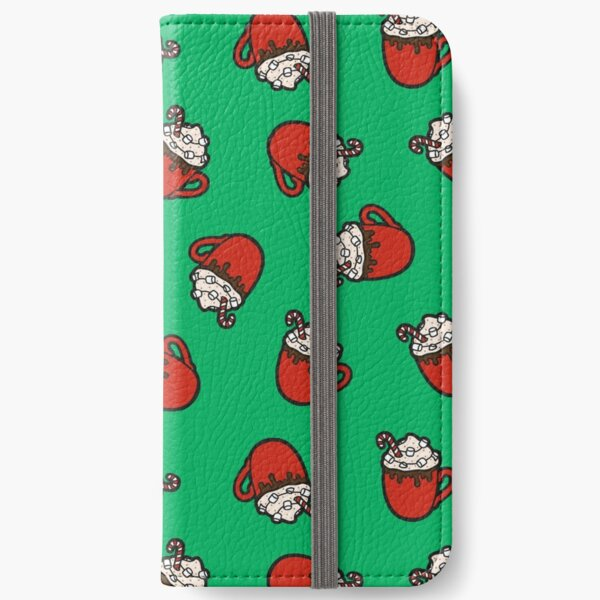Festive Hot Cocoa Pattern in Winter Green iPhone Wallet