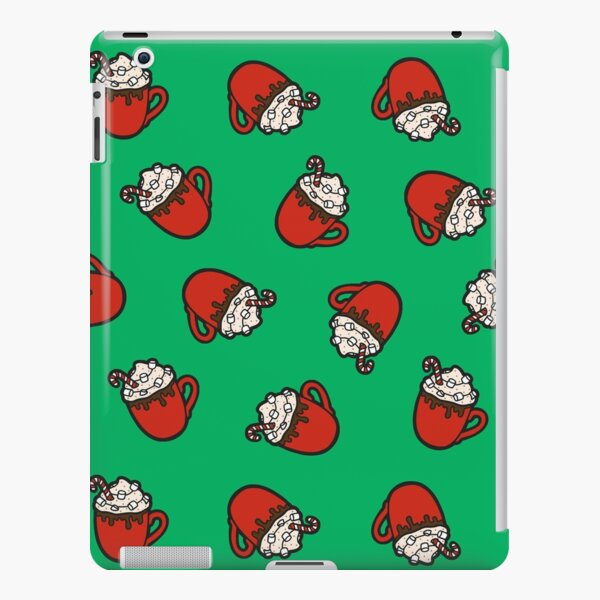 Festive Hot Cocoa Pattern in Winter Green iPad Snap Case