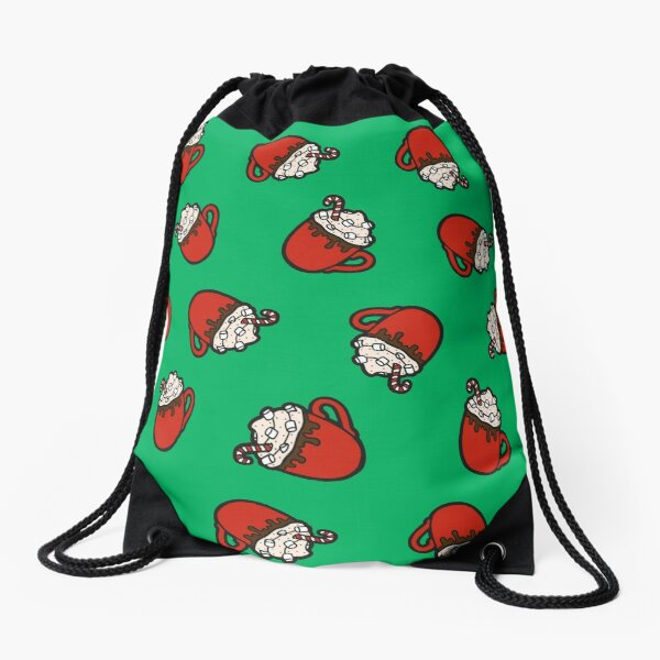 Festive Hot Cocoa Pattern in Winter Green Drawstring Bag