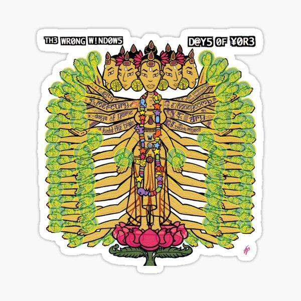 """The Wrong Windows """"Days of Yore"""" Vinyl Cover Painting """"The Golden Goddess"""" by Jennifer J. Jelenski Sticker"""