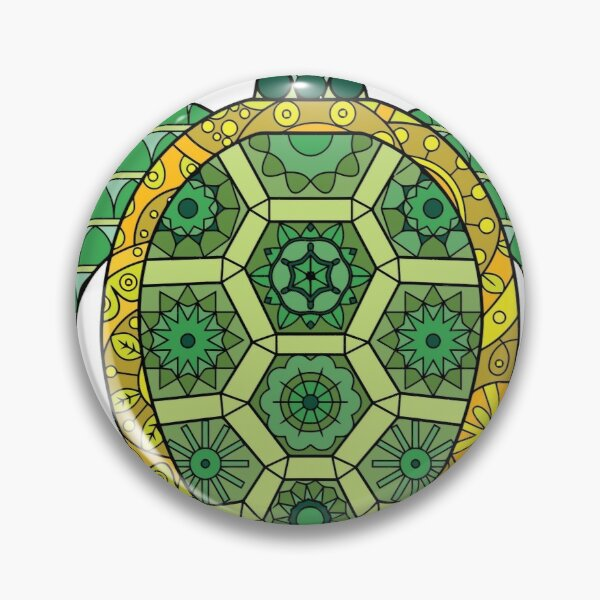 Green and Golden Turtle Tangle Art Pin