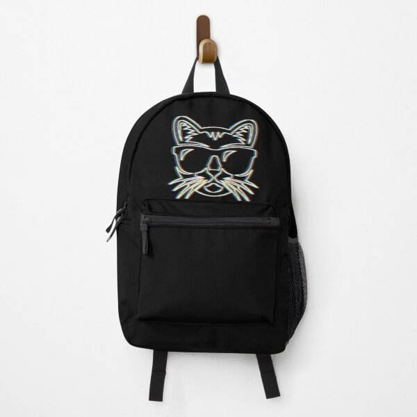 Psychedelic Cat Trippy Retro Ravers Party Techno Psy Trance Backpack