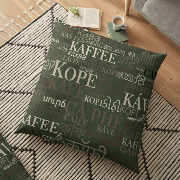 Coffee in different languages Floor Pillow