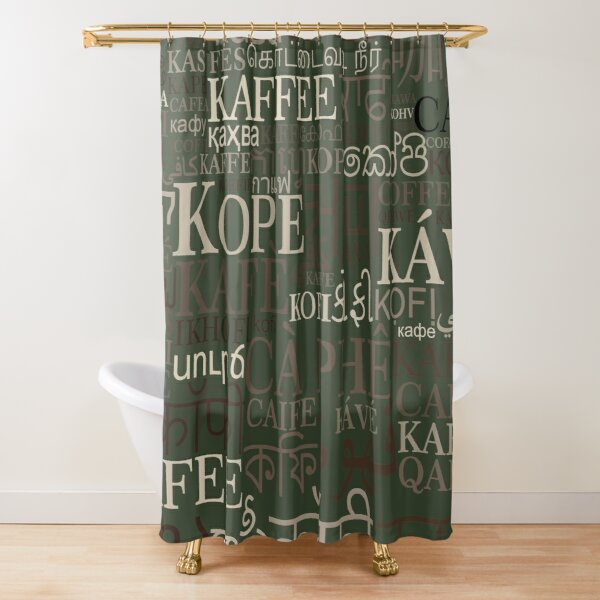 Coffee in different languages Shower Curtain