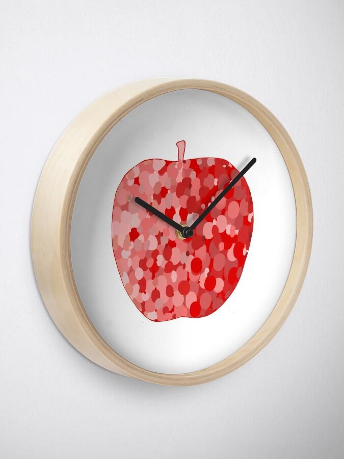 Alternate view of red apple digital drawing food illustration Clock