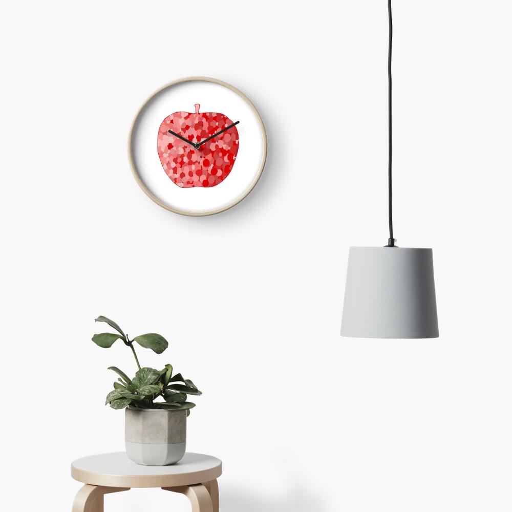 red apple digital drawing food illustration Clock
