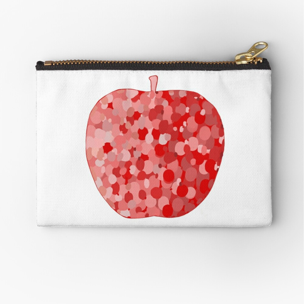 red apple digital drawing food illustration Zipper Pouch