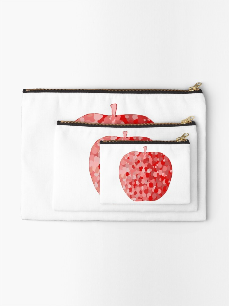 Alternate view of red apple digital drawing food illustration Zipper Pouch