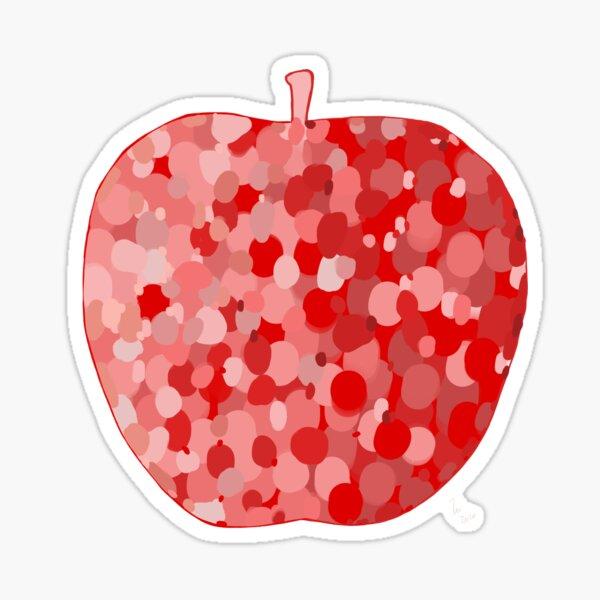 red apple digital drawing food illustration Sticker