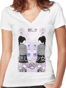 S a d G i r l s Women's Fitted V-Neck T-Shirt