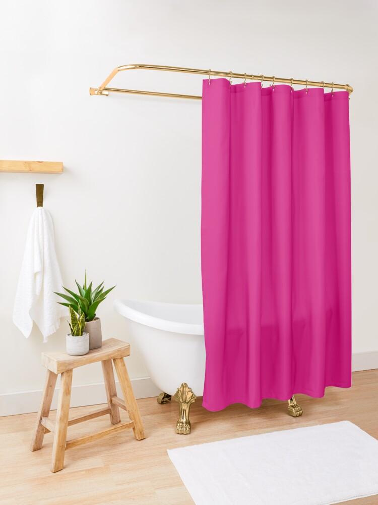 Alternate view of Fuchsia dress, Fuchsia socks, Fuchsia notebook Shower Curtain
