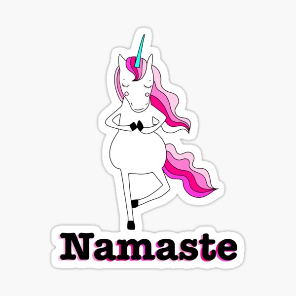 Namaste YogaCorn Kawaii Unicorn doing Yoga Sticker