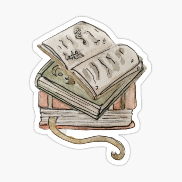 Stack of Vintage Books Illustration in Watercolor Sticker