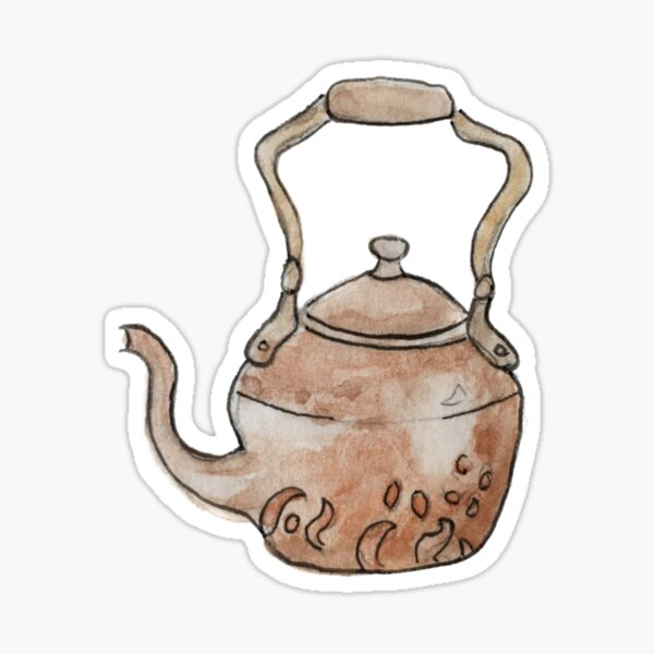 Simple Copper Teapot Illustration in Watercolor Sticker
