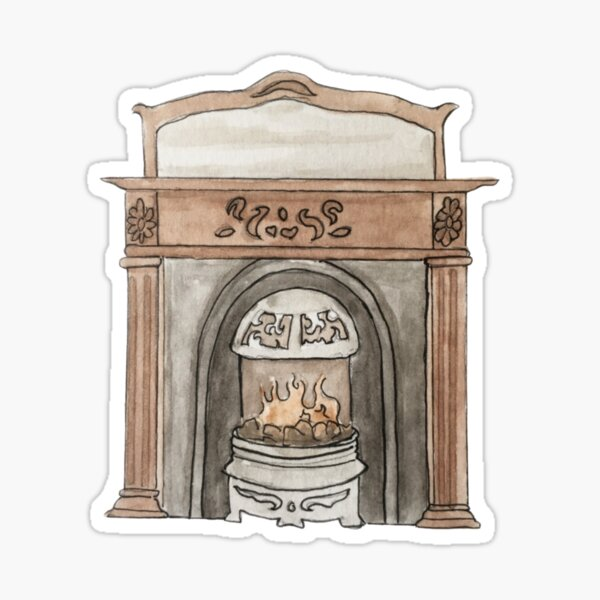 Victorian Hearth Illustration in Watercolor Sticker