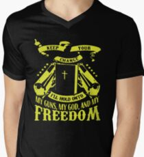My guns my god and my freedom Men's V-Neck T-Shirt