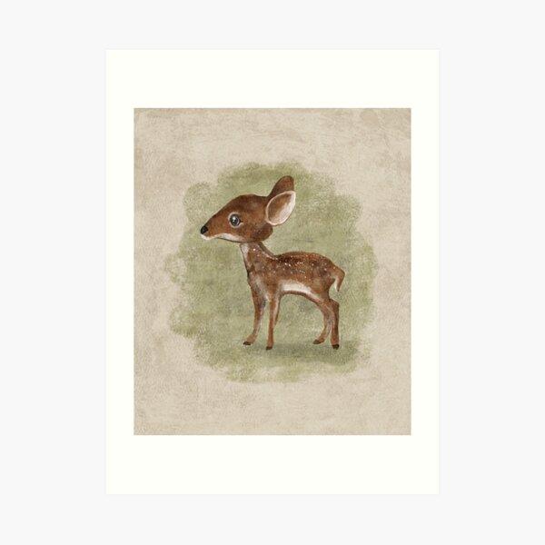 Baby Deer Painted Illustration Art Print