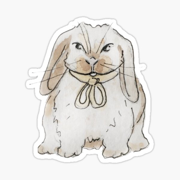 Floppy-Eared Bunny Illustration in Watercolor Sticker