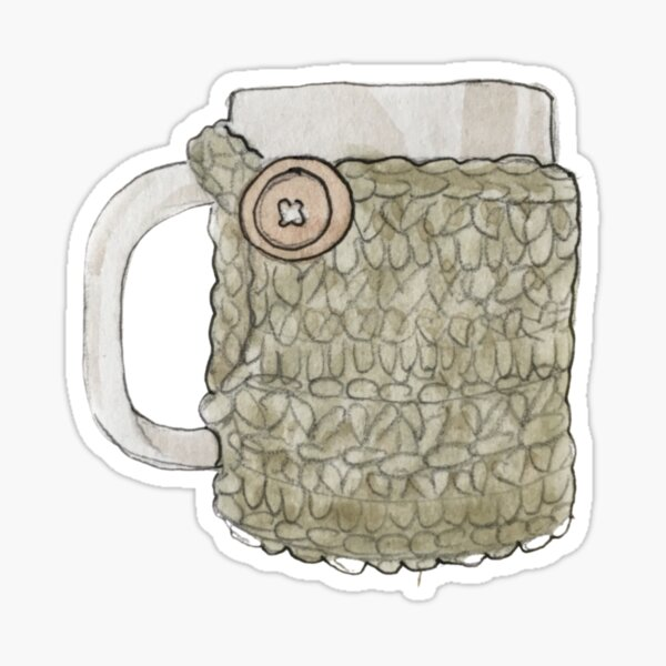 Coffee Mug & Crocheted Cozy Illustration in Watercolor Sticker
