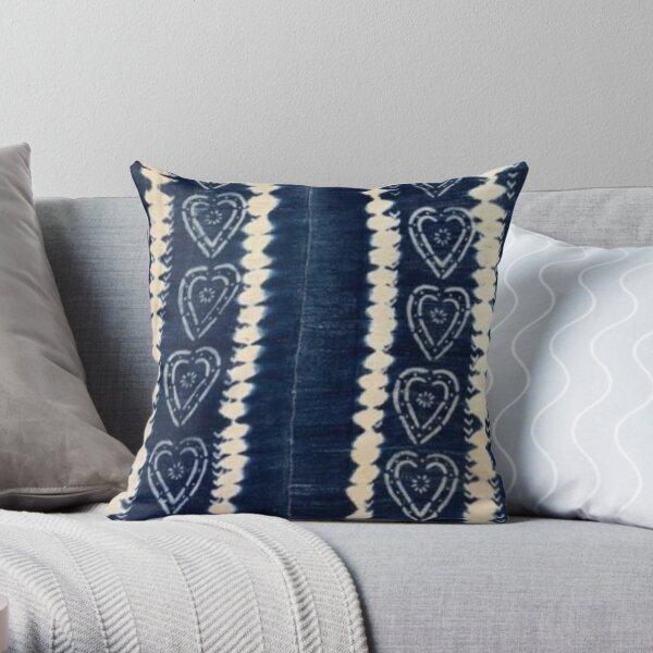Blue Indigo Mudcloth 05 Throw Pillow