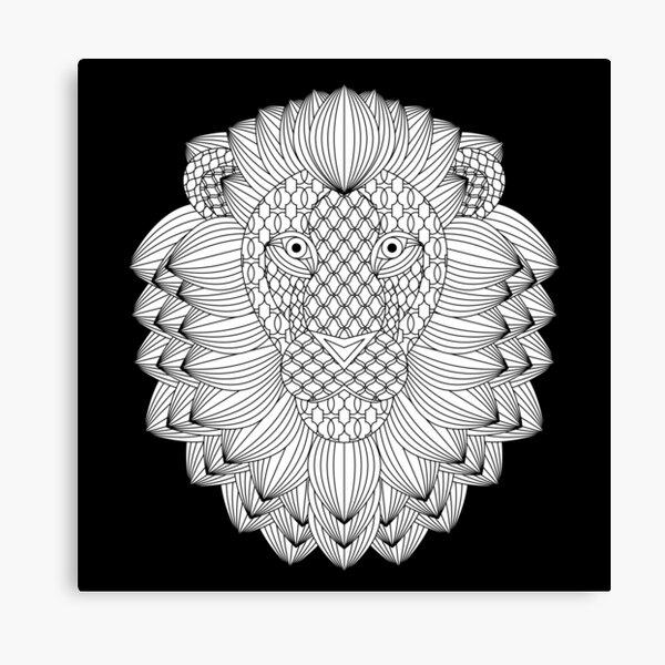 Löwenporträt in Mustern Leinwanddruck