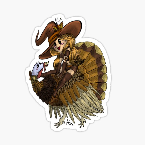 Thanksgiving Turkey Witch Sticker