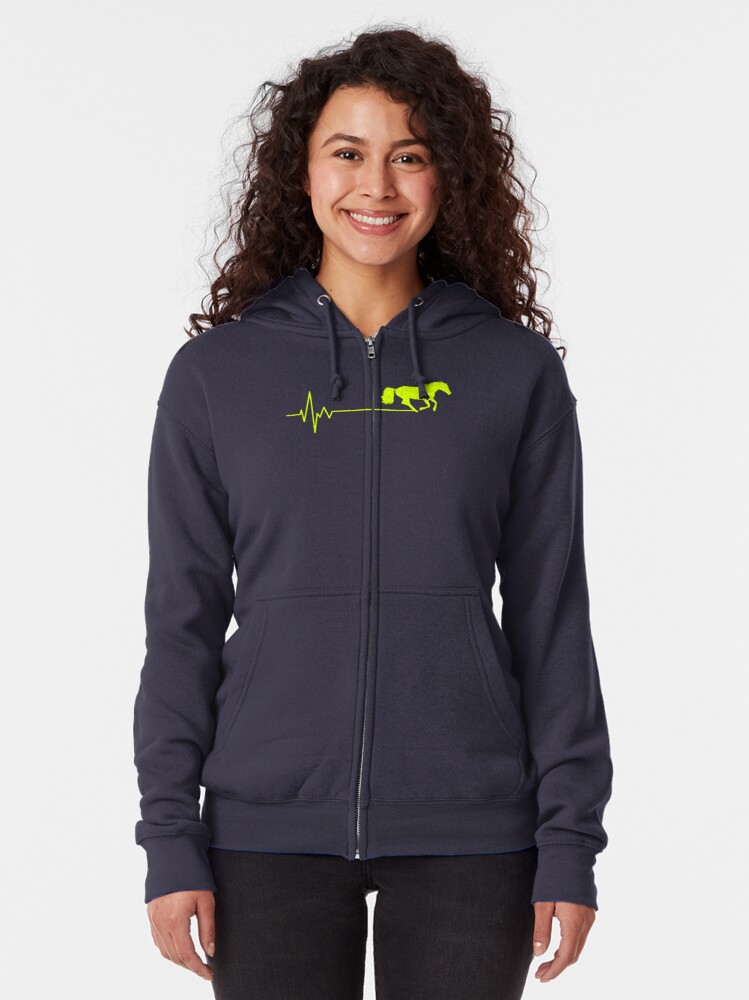 Alternate view of horse frequency of heart Zipped Hoodie