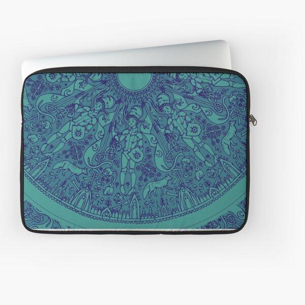 rosace medieval bleue Housse d'ordinateur