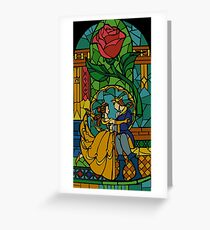 Beauty and The Beast - Stained Glass Greeting Card