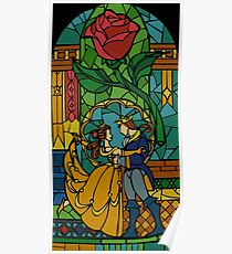 Beauty and The Beast - Stained Glass Poster