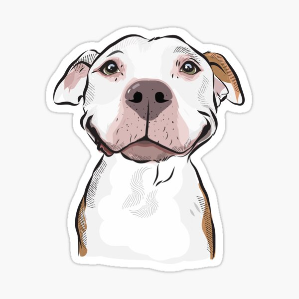 Smiling white Pitbull Terrier Sticker