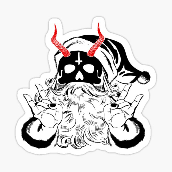 Red Horned Evil Santa - Devil Anticlaus - Krampus Sticker