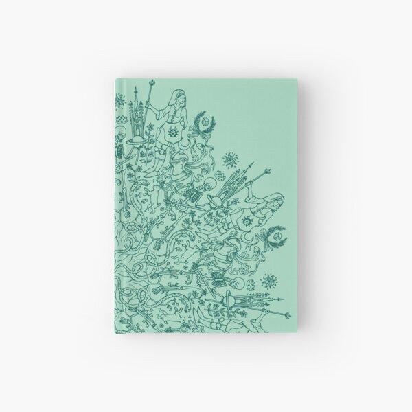 Medieval rosette Saturn green Hardcover Journal
