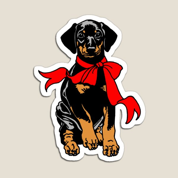 Holiday Puppy - black Magnet