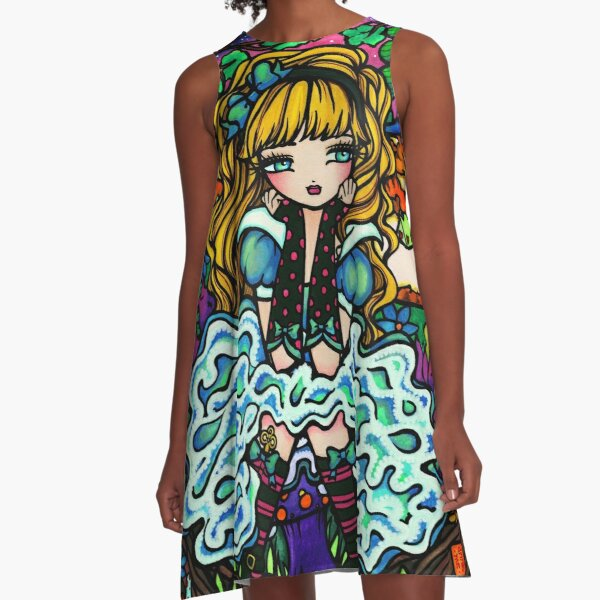 Alice in Wonderland with Cheshire Cat Fantasy Art A-Line Dress